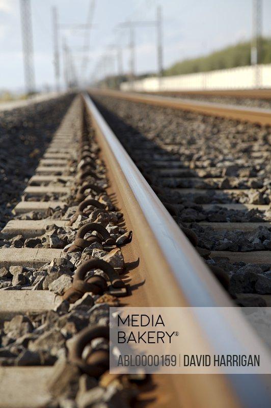 Close up of rail tracks