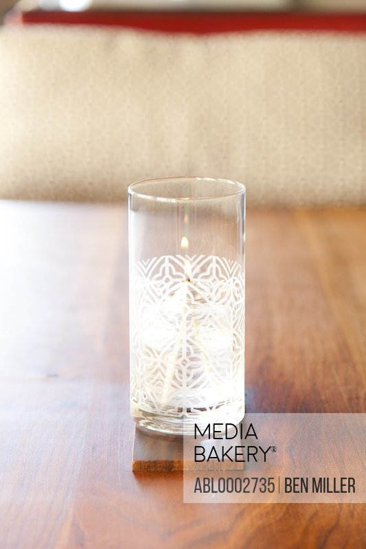 Decorative Glass Candleholder on Wooden Table
