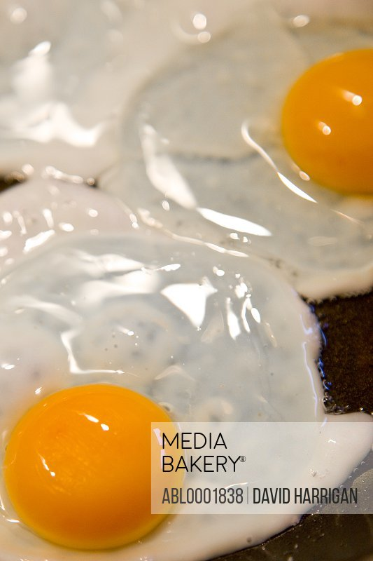 Close up of fried eggs sunny side up