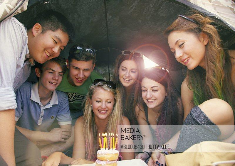 Group of Teenagers Celebrating Birthday