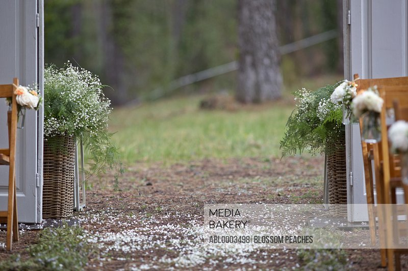 Flower Arrangements and Decorations at Outdoor Wedding Ceremony