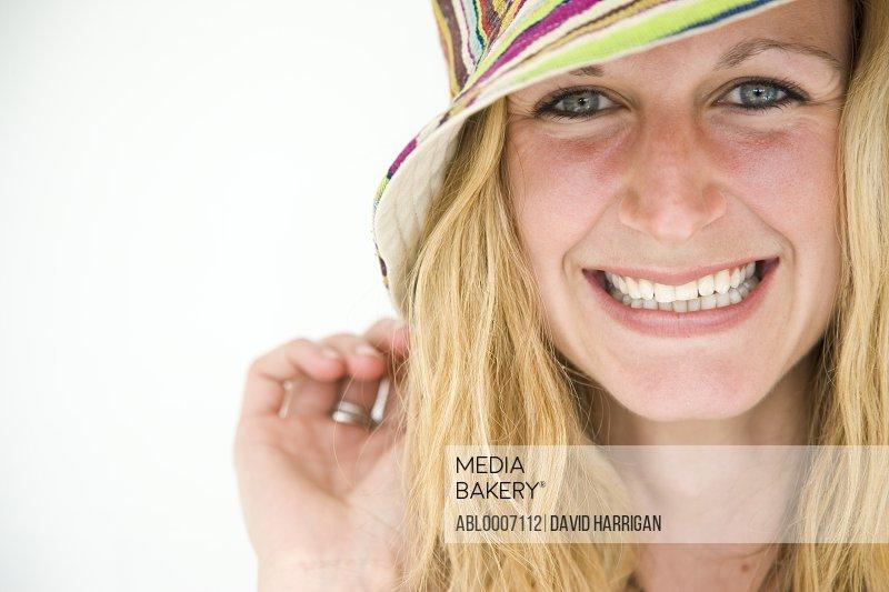 Woman Wearing Striped Hat