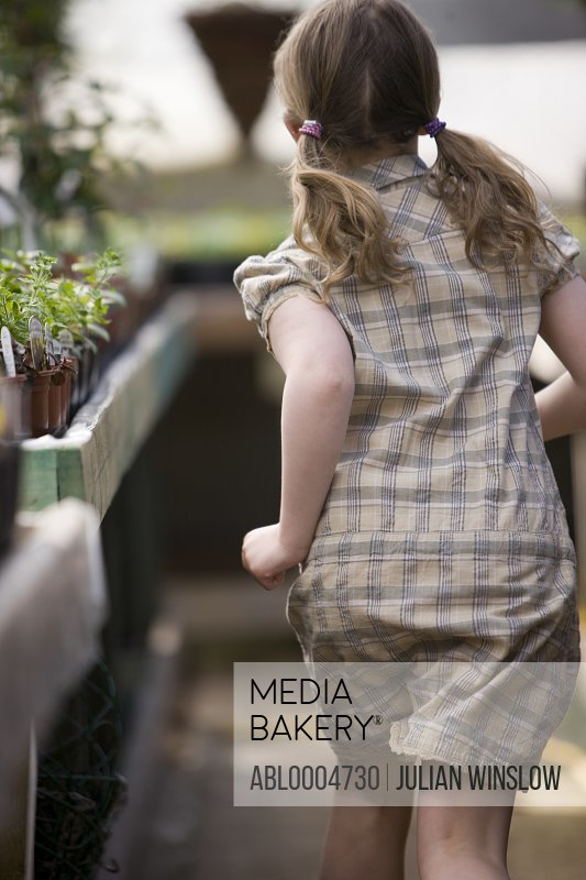 Back of young girl running around inside a nursery greenhouse