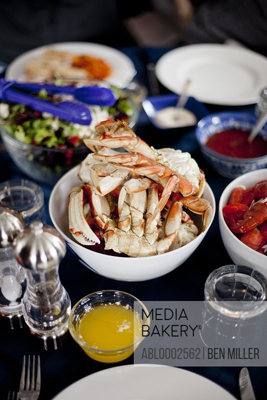 Laid Out Table with Dungeness Crab