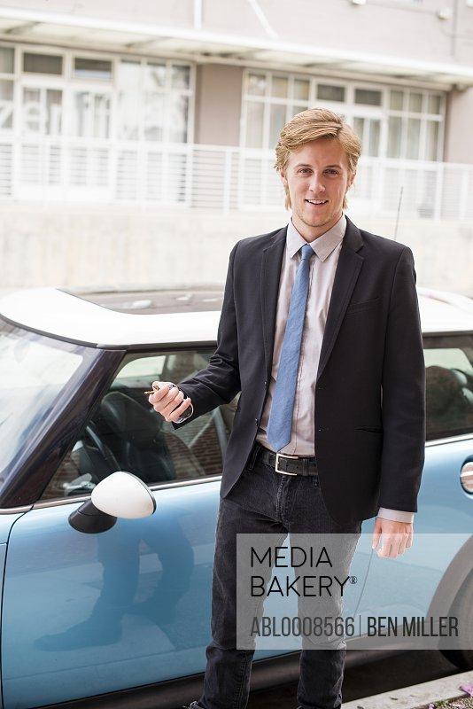 Businessman Locking Car
