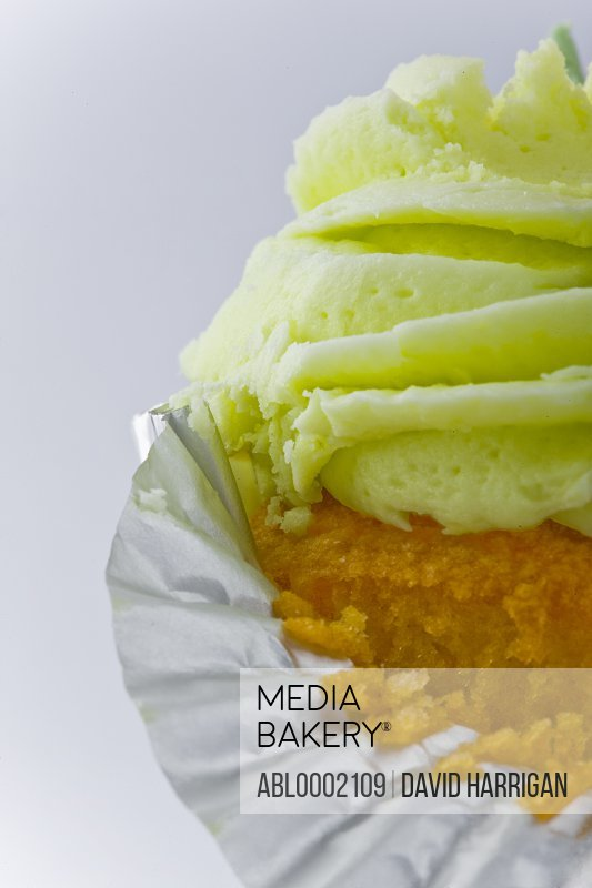 Cupcake with Pastel Green Icing Sugar
