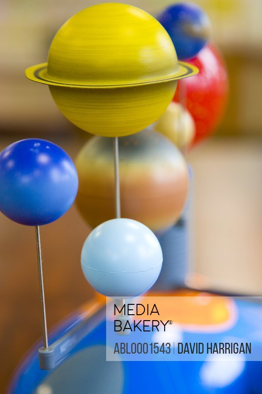 Close up of a model solar system