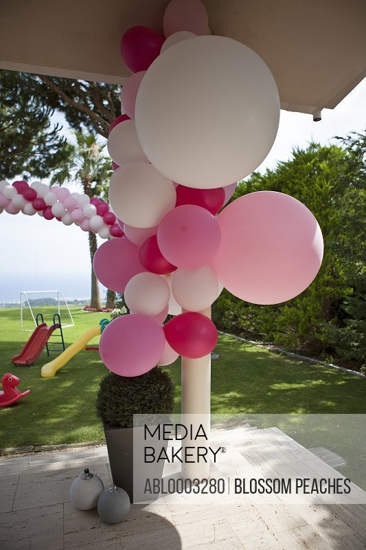 Multicolour Party Balloons under Garden Porch