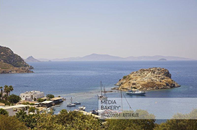 View of Gumusluk Bay, Bodrum Peninsula , Turkey