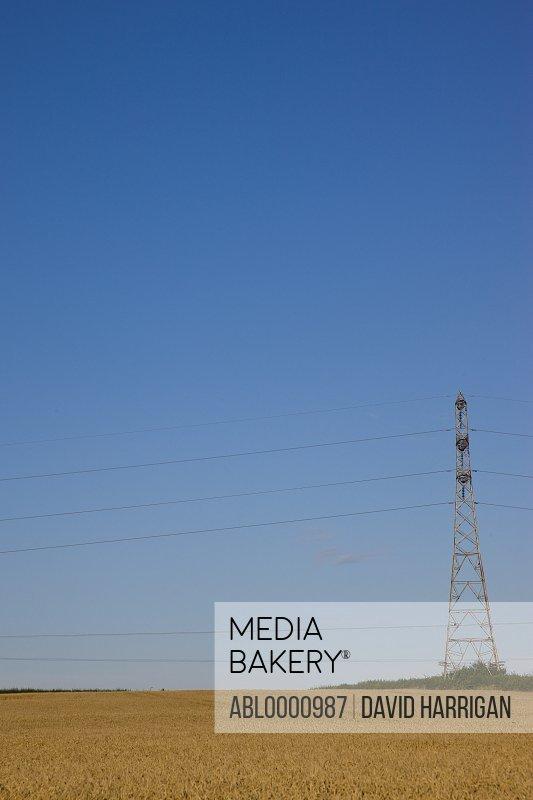 Electricity pylon on a field with blue sky