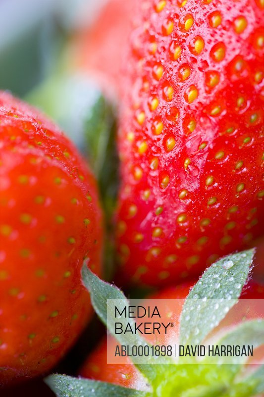Extreme close up of strawberries