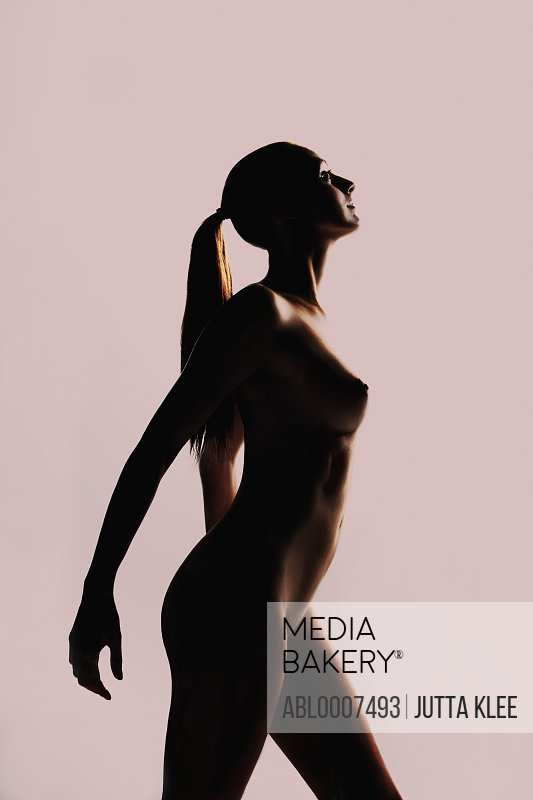 Side View Silhouette of Nude Woman