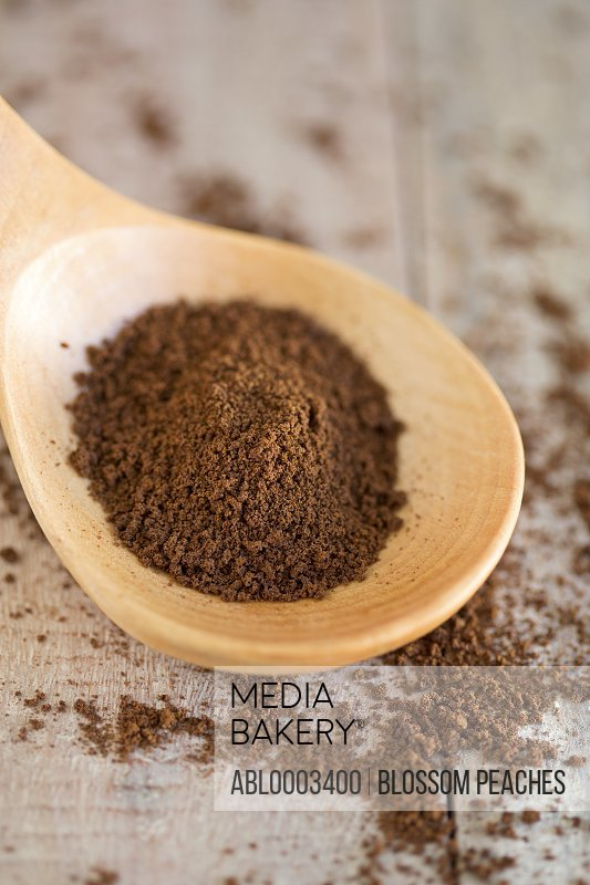 Wooden Spoon with Cocoa Powder, Close-up View