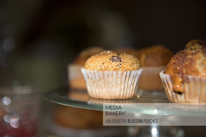 Close up of Mini Muffins on Cake Stand