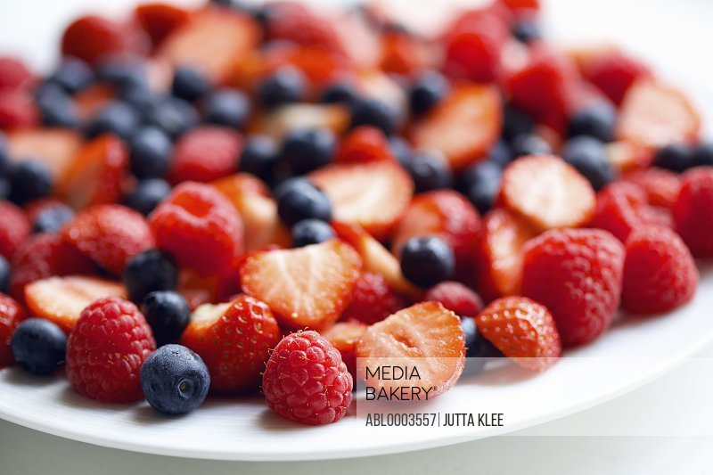 Strawberries, Raspberries and Blueberries, Close-up View