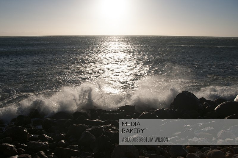Waves Breaking on Rocky Shore, Cape Town, South Africa