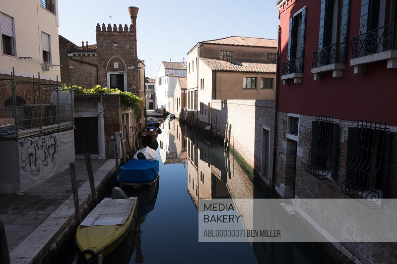 Buildings and Boats in a Venice Canal, Italy