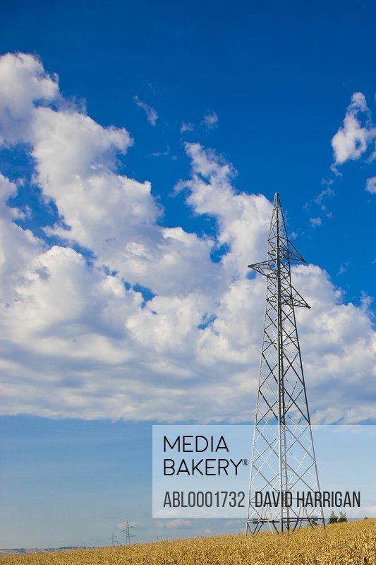Electricity pylon and blue sky