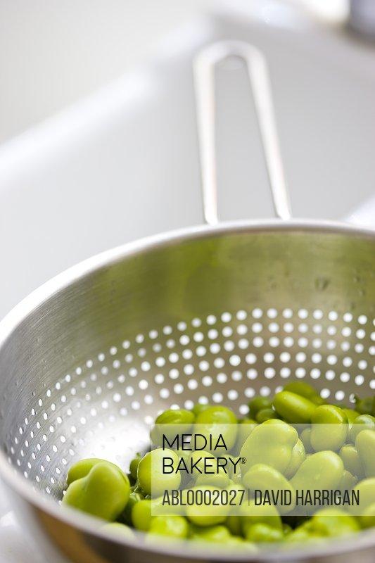 Broad Beans Draining in Colander