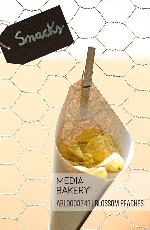 Paper Cone of Potatoes Crisps