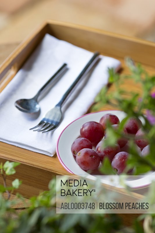 Food Tray with Cutlery and Red Grapes