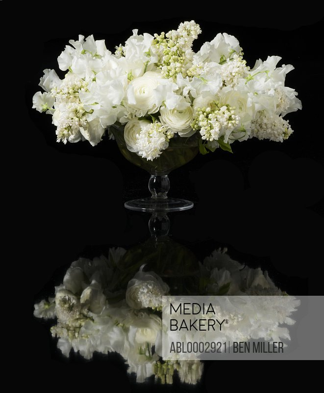Bouquet of White Lilac and Persian Buttercup Flowers