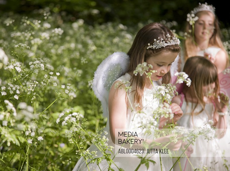 Young girls in fancy dress in a flower garden