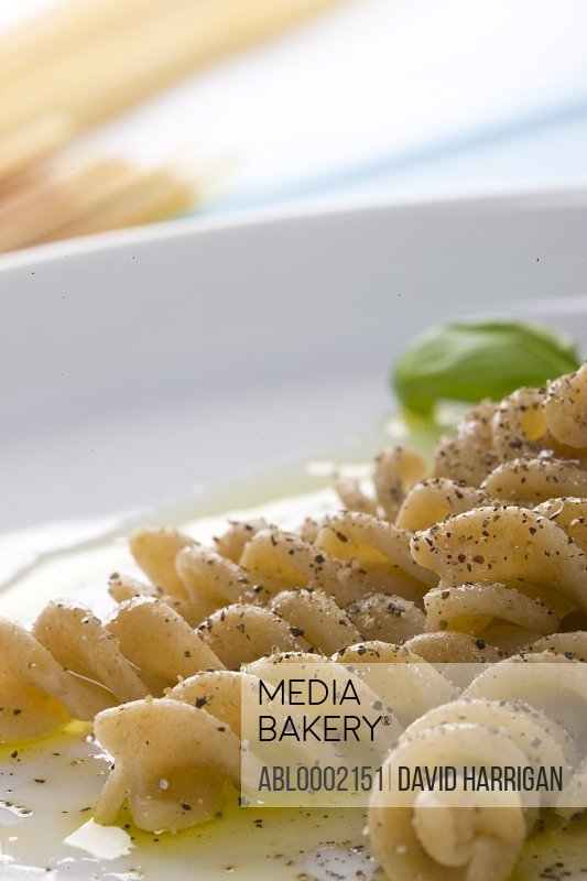 Whole Wheat Fusilli with Basil and Ground Pepper