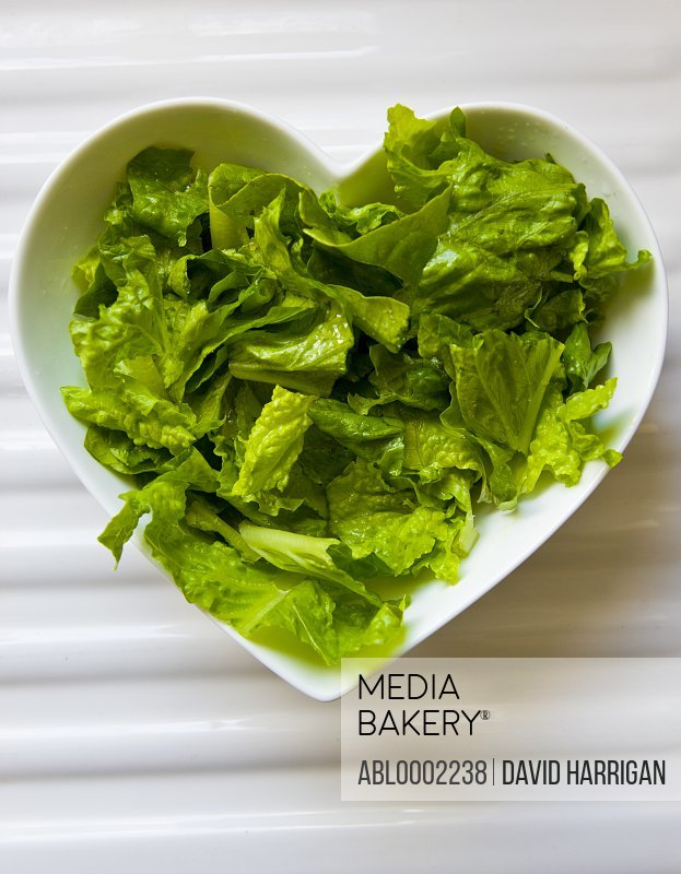 Green Salad in Heart Shaped Bowl