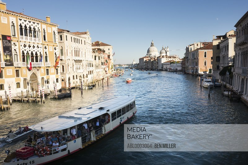 Buildings and Waterbus on Grand Canal, Venice, Italy