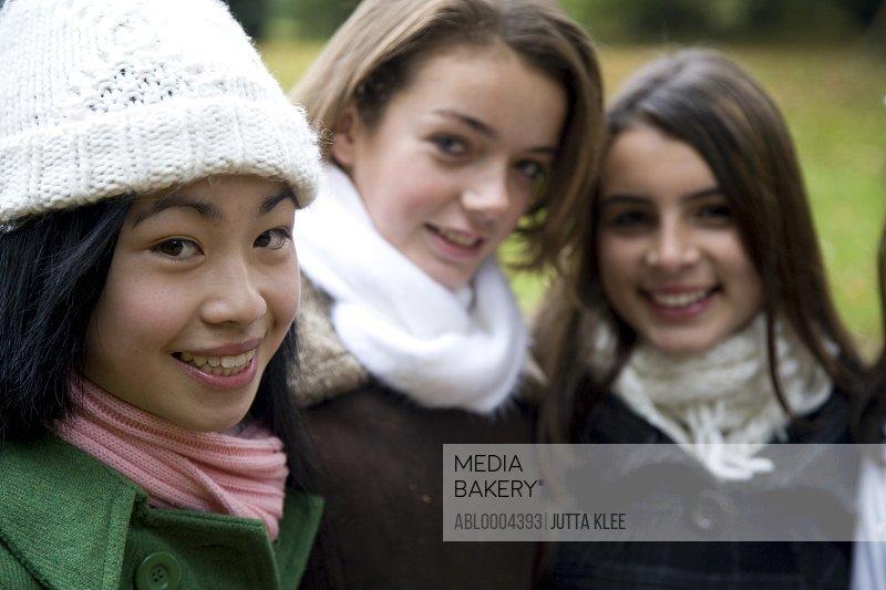 Portrait of teen girls in the park