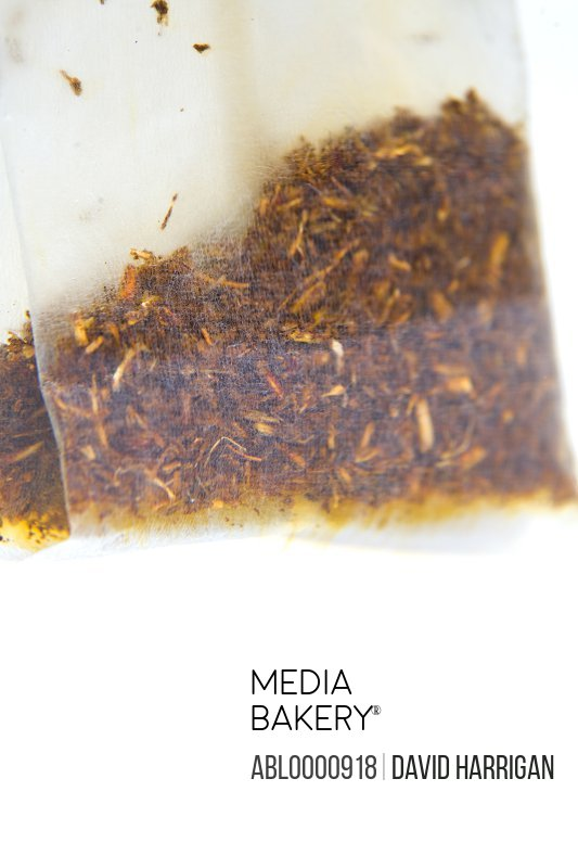 Close up of a wet bag of black tea