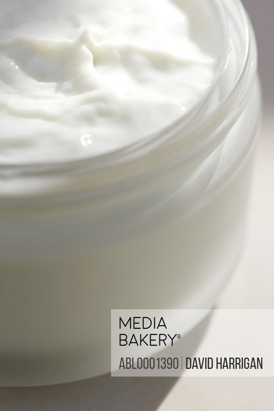 Close up of a jar full of moisturizer