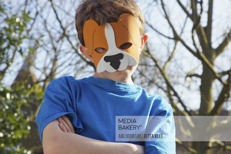 Boy Wearing Lion Mask