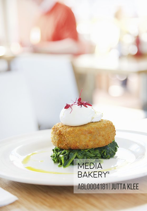 Hake Fishcake on Spinach with Poached Egg