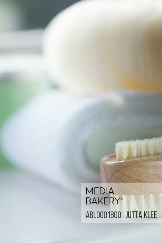 Close up of a wooden fingernail brush