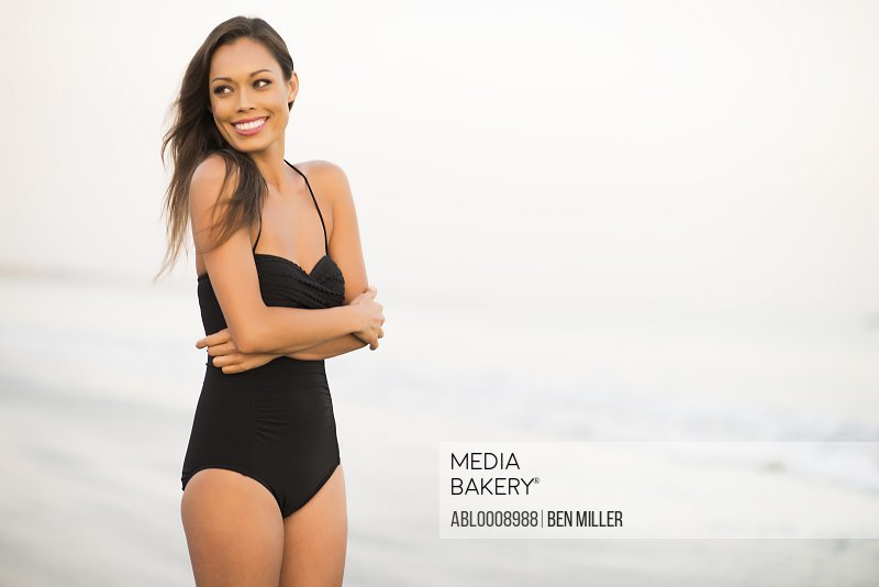 Attractive Woman Smiling on Beach