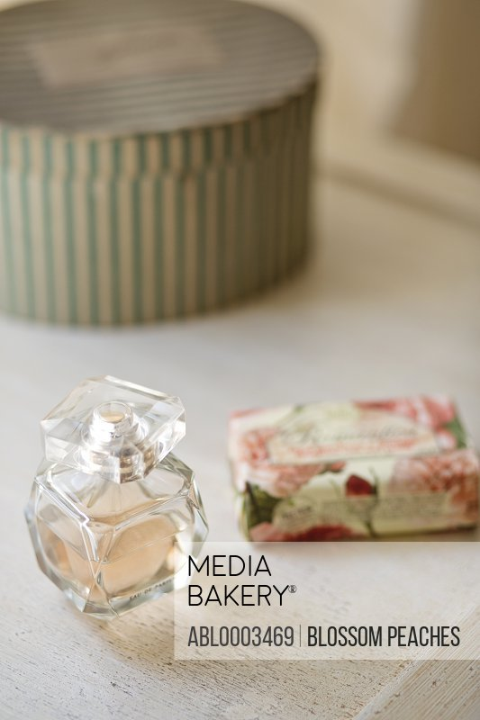 Perfume Bottle and Soap Bar, Close-up View