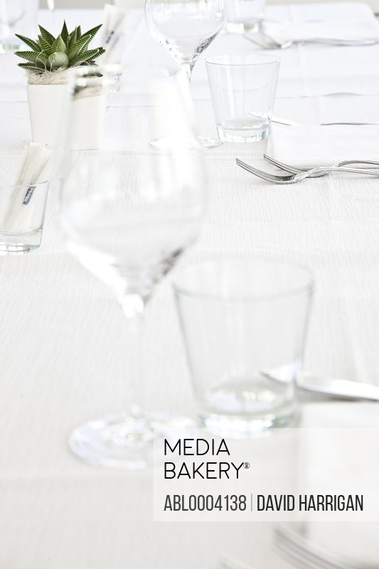 Place Setting at Restaurant Table, Close-up View