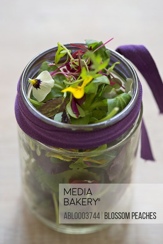 Mixed Lettuce Leaves and Edible Flowers