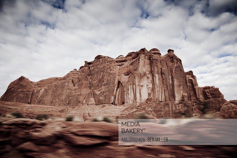 Sandstone Formations and Cloudy Sky, Blurred Motion