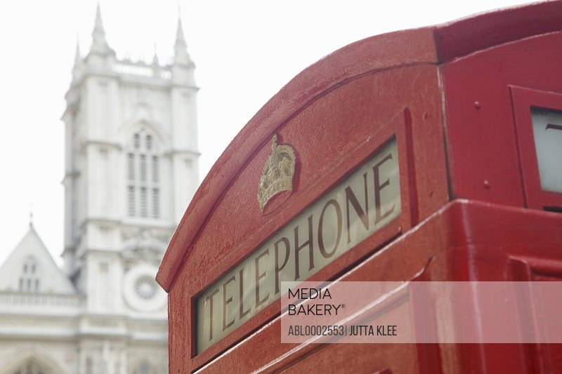 Red Phone Box and Westminster Abbey, London