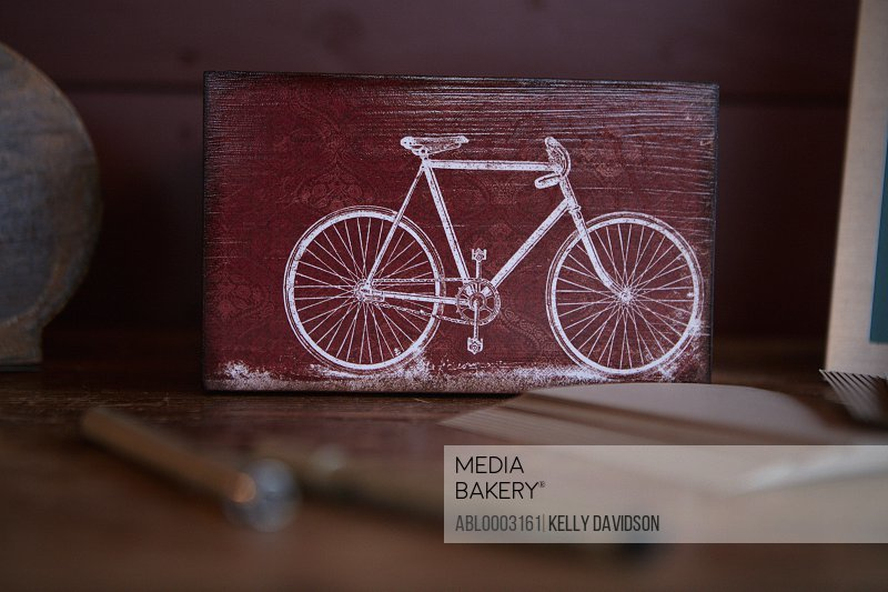 Drawing of Bicycle on Wood Panel