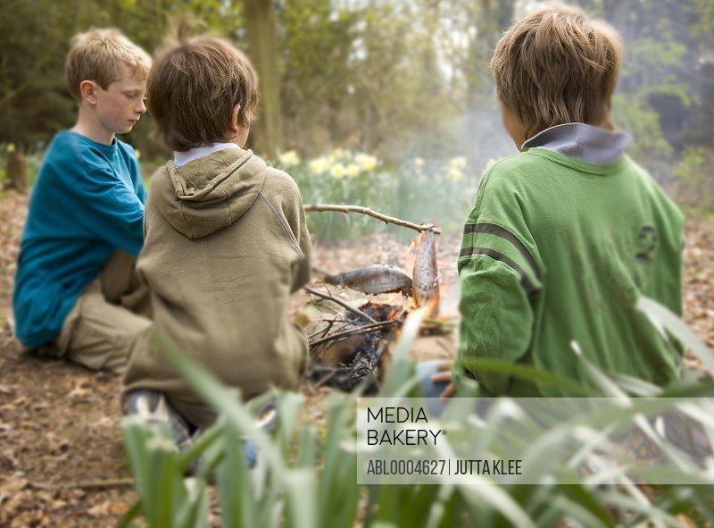 Three boys sitting around campfire cooking fish