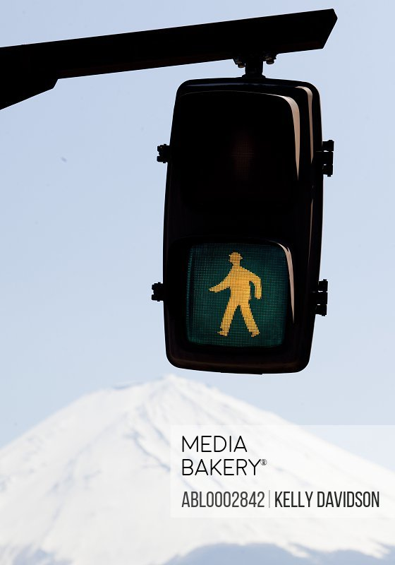 Green Crossing Sign, Mount Fuji in Background