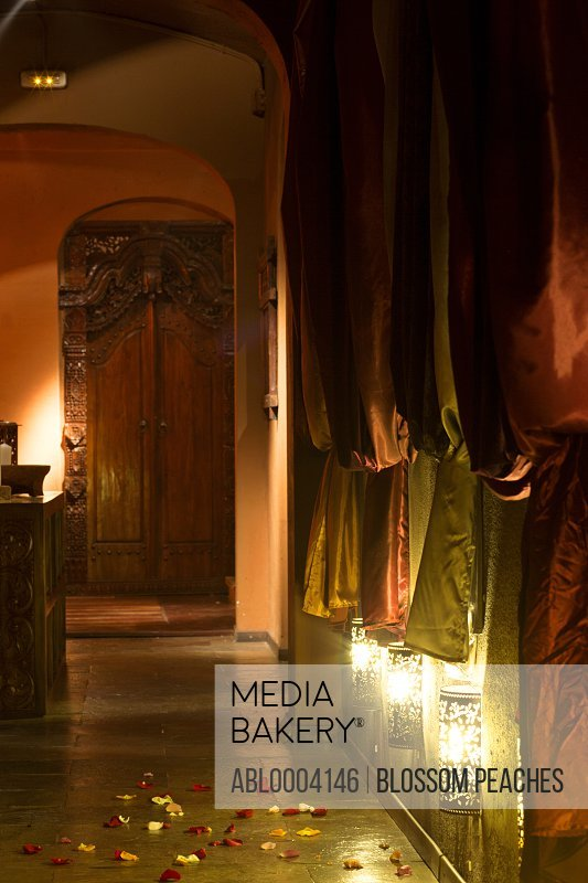 Ornate Corridor with Drapery and Wall Lights