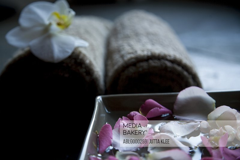 Pink floating petals in square bowl with brown towels
