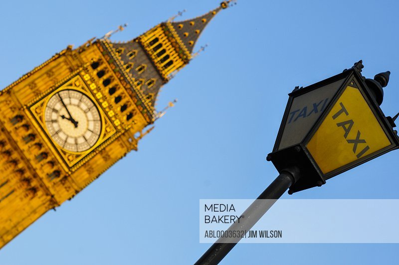 Big Ben and Taxi Signpost, London, England