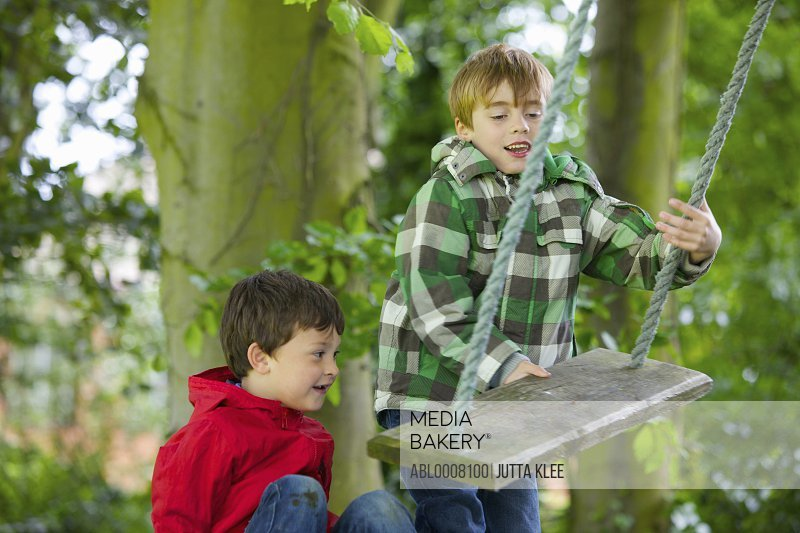 Two Boys Playing on a Swing