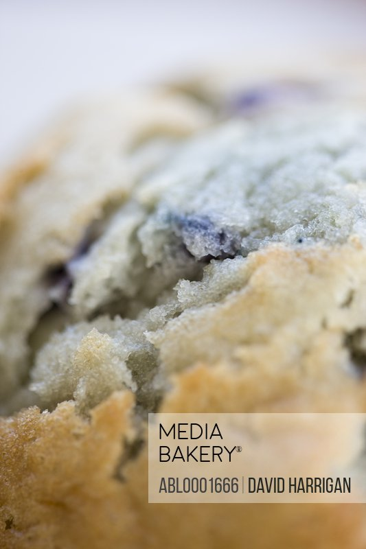 Extreme close up of a blueberry muffin